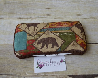 READY TO SHIP, Woodland Aztec, Tribal, Travel Baby Wipe Case, Personalized, Diaper Wipe Case, Baby Shower Gift, Wipe Clutch, Bear, Moose