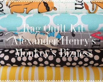Rag Quilt Kit,  Easy to Make, Alexander Henry Monkeys Bizness, Personalized, FAST Shipping, Bin G, Sewing Available