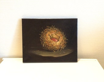 Bird Nest Original Oil Painting 12 x 9.5 inch