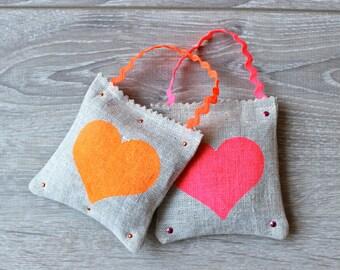 Set of 2 Modern French Lavender Sachets - Hand Painted Heart Linen Sachets -  Valentine's Day Sachets - Heart Lavender Sachets