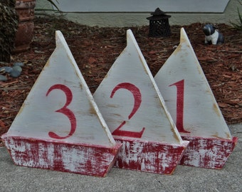 Wedding Table Numbers, Free Standing Wooden Sail Boat, Nautical Beach-y Event