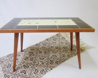Danish Modern  teak table coffee side end occasional TABLE Tile Mosaic Eames Era vintage retro