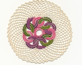 Small Crochet Colorful doily handmade craft