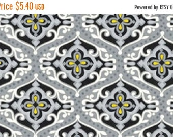 ON SALE Sundance Quilt Fabric by the 1/2 yd Yellow Grey Damask