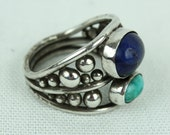 artisan made sterling silver MENS ring • lapis and turquoise