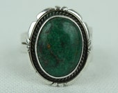 vintage sterling silver GREEN TURQUOISE ring • sz 9