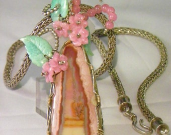 Rare Glendo Tube Agate Wired in Sterling Pendant with SS Chain