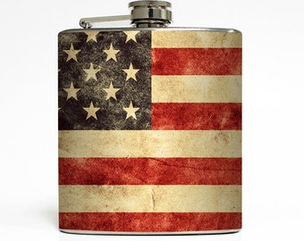 Grunge American Flag Whiskey Flask Patriotic USA Red White Blue United States Groomsmen Gift Stainless Steel 6 oz Liquor Hip Flask LC-1568