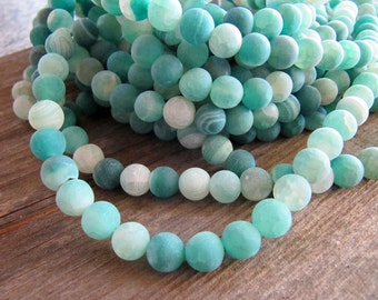8mm Frosted AGATE Beads, Sea Green, Crackle Agate, Round, Matte, Pastel Stone Beads, 1 Strand 15 Inches, Approx. 48 Beads, Effloresce,
