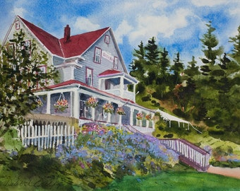 Orcas Hotel, Orcas Island, Watercolor Giclée Print, San Juan Islands, Pacific Northwest