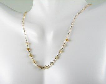 Ethiopian Opal gold wire wrapped chain necklace delicate minimalist elegant design
