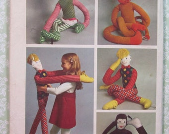 Vintage 1970's Set of Stuffed Toys Simplicity Pattern 5948 Cut/Complete (well used) Monkey, Girl, Boy, Lion