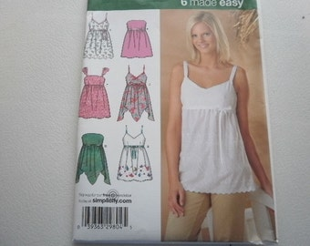 Pattern Ladies Tops 6 Styles Sizes 6 to 14 Simplicity 4127