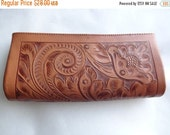 SALE Tooled Leather Wallet or Clutch