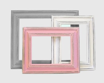 Picture Frame 8x10 Picture Frames Pink Gray or Custom Picture Frame 5x7 Pink and Gray Nursery Wall Decor Wedding Wide Wood Frames