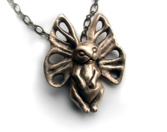 Butterfly bunny pendant bronze sculpture