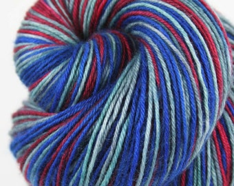 VINTAGE AMERICANA OOAK Superwash Merino Wool/Nylon/Cashmere Self-Striping Fingering Weight Yarn