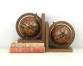 Vintage Wooden Globe Bookend Set , Made In Italy, Globe Book End , Item No 156