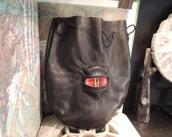 Large  Black Leather Bag with Red Eye---New Style---