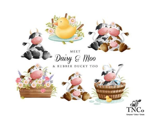 Kinderzimmer clipart  Kuh-ClipArt - Instant Download-Kuh-Grafiken - set süße ...
