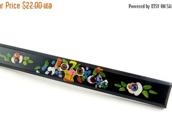 1920's Black Celluloid Bar Pin with Hand-Painted Flower Basket, Colored Rhinestones