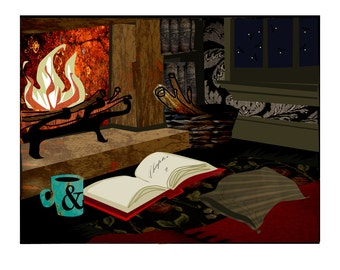 Fireplace with book and warm drink at night