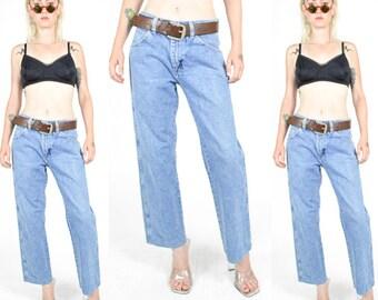 90's Blue STONEWASH DENIM High Rise Jeans size - S/M - Straight WIDE Leg. 90's Mod Grunge 70's Boho. Waist 29 - Leg 30 - 29x30