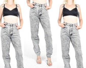 80's BLACK ACID WASH Jeans. High Waist Jeans. Tapered Leg 5 Pocket Jean. Size - S/M