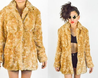 90's Gold Faux Fur Fluffy Shaggy Coat size - S/M