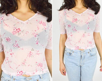 90's  PALE PINK Floral Sheer Crop Top. Cropped Sleeves. 90's GRUNGE Sheer Blouse. Mod minimalist. Size Large L. Sheer T Shirt