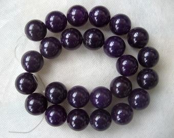 15.5 Inch Strand Dark Purple Jade Smooth Round Beads 16mm