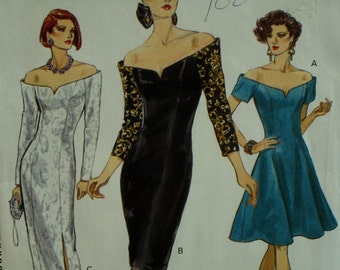 Off Shoulder Evening Gown Pattern, Straight/Flared Skirt, Short/Long Sleeves, Princess Seams, Low Cut, Vogue No. 8227 Size 12 14 16