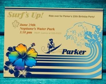 Surfer tropical party invitations *Digital download*