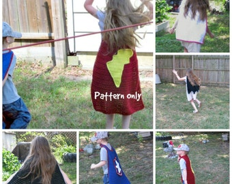 PDF Crochet Pattern Super Hero Cape, Dress up Cape