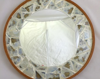 Ceramic Mosaic Tile Mirror, Ivory Crystalline
