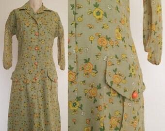 20% OFF 1970's Pea Green Floral Vintage Wiggle Dress