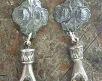 Sacred and Faithful Rose and Hand Earrings