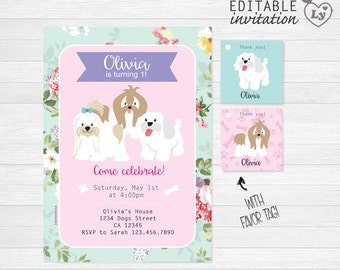 Puppy INSTANT DOWNLOAD Editable Invitation / Puppy Shabby Chic Invitation  / EDITABLE Puppy Invitation / Puppy Party / Puppy Tag