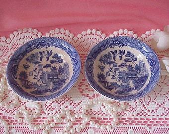2 Old Vintage Blue Willow Dessert or Cereal Dishes Bowls Japan