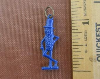 Mr. Peanut Charm or Pendant - Vintage, Blue