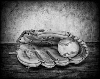 Baseball Glove Print - Boys Room Decor - Baseball Art - Baseball Photo Print - Baseball Coach Gift - Vintage Baseball - Black and White