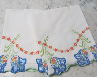 Pair Vintage Pillowcase with Large-Heavily Embroidered Blue Flowers