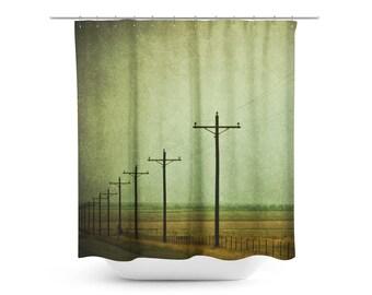 Green shower curtain etsy for Dark green bathroom accessories