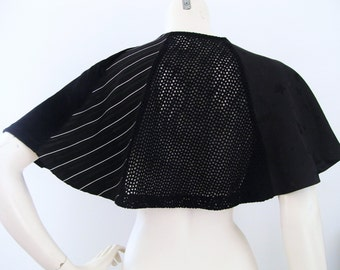 Eclectic Black Capelet made with vintage, upcycled, and recycled materials