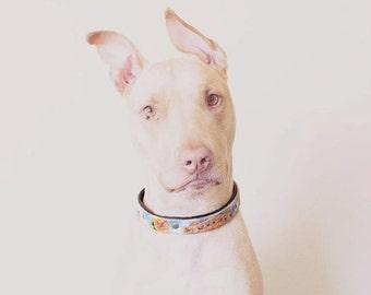 Leather Dog Collar, Unique Custom Tooled Dog Collar, Handmade Dog Collar, Girl Dog Collars, Designer Dog Collar, Tooled Leather Pet Collar