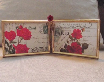 Picture Frame - Double 3 1/2 x 5 Goldtone Vintage Metal Picture Frame with Rose Jewel