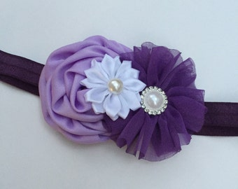 Lavender, plum and purple hirls headband, flower girl headband, gorls purple headband, infant headband, purple flower headband