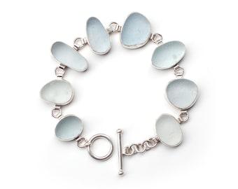 Shades of Pale Blue Sea Glass Bracelet bezel set sterling silver