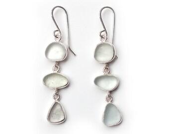 Very Pale Green Three Drop Sea Glass Earrings in Silver metalwork earrings bezel set