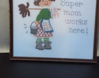 Cute Embroidery House Diva framed Picture
